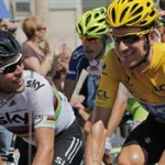 Bradley Wiggins and Mark Cavendish racing for Team Sky in the 2012 Tour de France (ITV)